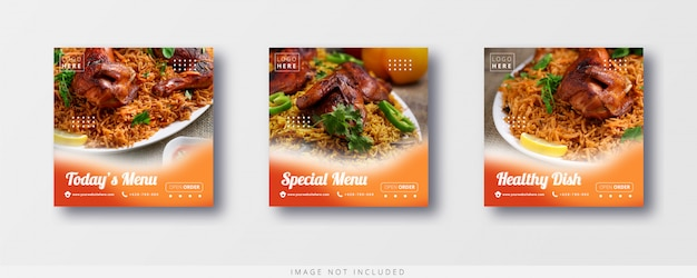 Social media and  instagram food sale and banner template
