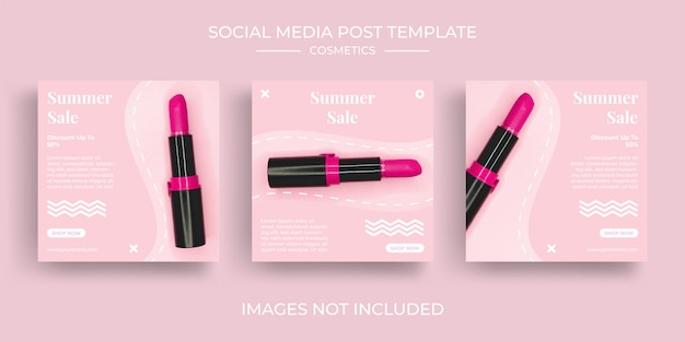 Набор шаблонов косметики в социальных сетях instagram