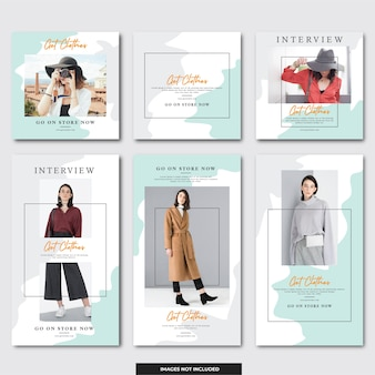 Social media instagram post and instagram stories template fashion