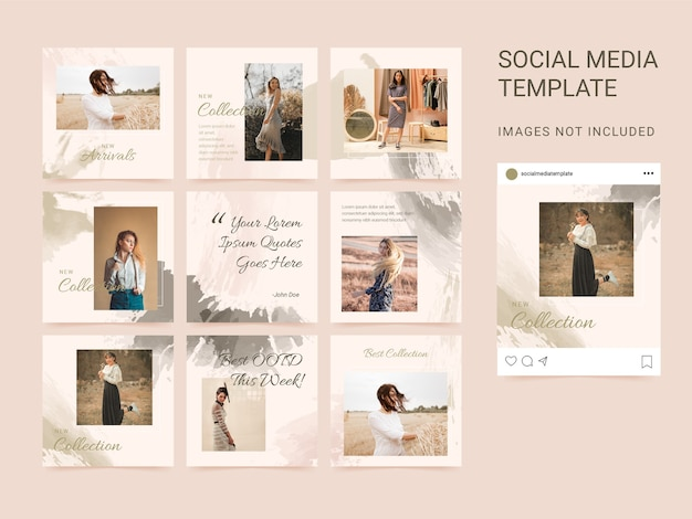 Social media instagram post square puzzle template with watercolor brush.