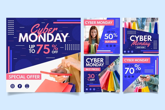 Social media instagram posts cyber monday