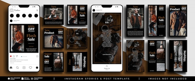 ソーシャルメディアのinstagramストーリーと投稿フィードバンドルキットのファッションテンプレート