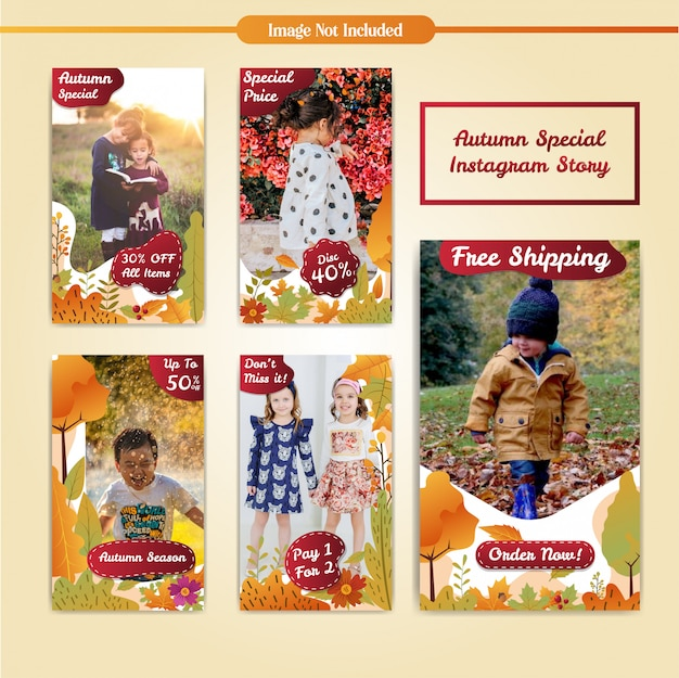 Social media instagram stories autumn discount sale template