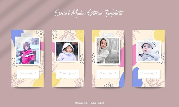 Social media instagram stories template with organic shape background