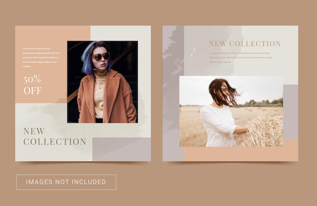 Шаблон instagram в социальных сетях для продажи моды новое прибытие эстетический цветной пост баннер флаер