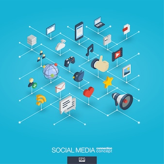 Social media integrated 3d web icons. digital network isometric interact concept.