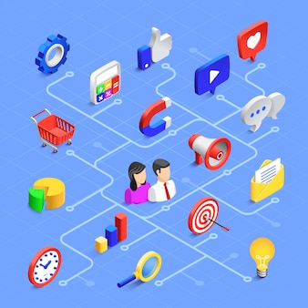 Social media isometric composition. digital marketing communication, multimedia content or information sharing.
