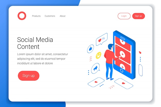 Social media isometric concept. man watches videos from youtube through a smartphone screen. flat 3d style. landing page template. illustration.