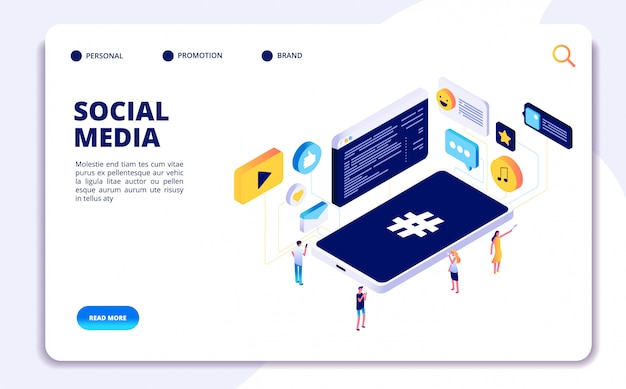 Social media isometric concept. people follow share content with phones, online dating. cellphone addiction  landing page