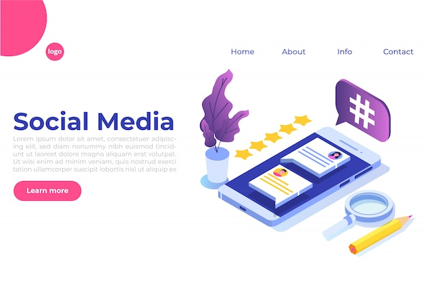 Social media isometric concept with characters. landing page template.  illustration