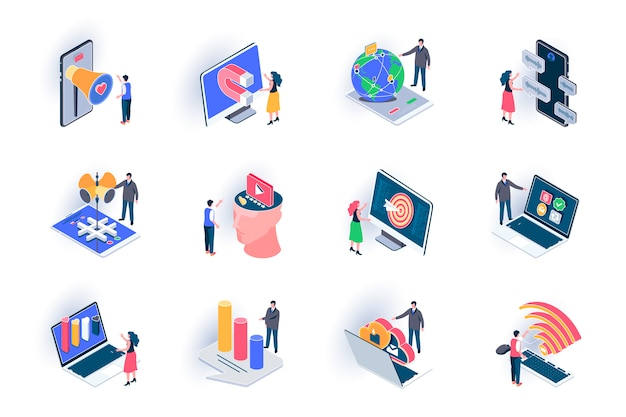 Social media isometric icons set. smm technology, trend watching, analysis and targeting flat illustration. online communication and promotion 3d isometry pictograms with people characters.
