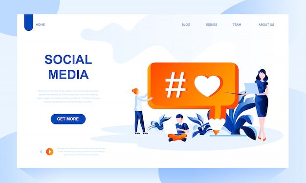 Social media landing page template with header