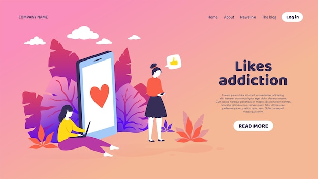 Social media landing page. trendy mockup with cartoon customer characters get like notifications. vector vibrant illustrations frontend smartphone, concept web page with thumbs-up icon
