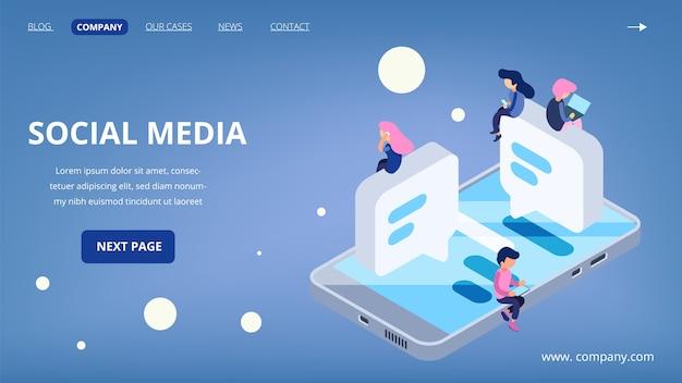ソーシャルメディアのランディングページ。仮想通信ベクトルの概念。ガジェット、ラップトップ、スマートフォンを持っている等尺性の人々。ソーシャルメディアテクノロジー、ページソーシャルランディングページ