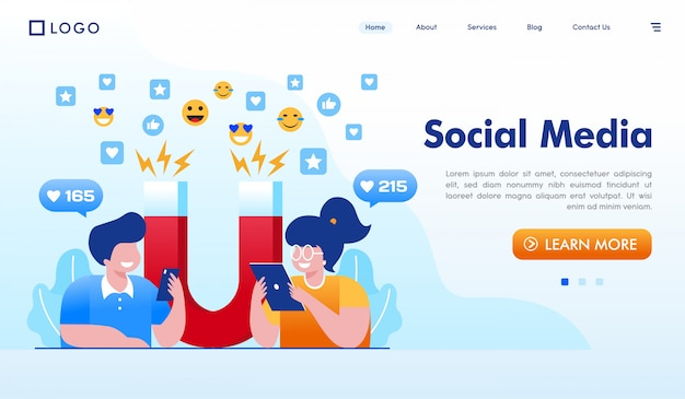 ソーシャルメディアのランディングページのウェブサイトイラスト