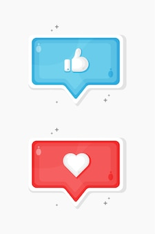 Social media like and favorite icons designs