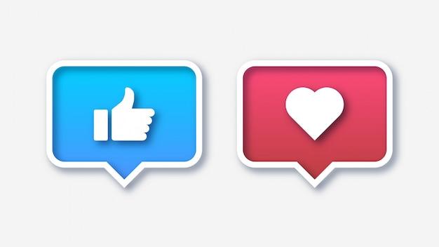 Social media like and favorite icons Premium Vector