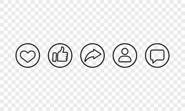 黒で設定されたソーシャルメディアラインアイコン。いいね、共有、フォロワー、チャットサイン。ベクトルeps10。透明な背景で隔離。