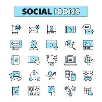 Установленные значки линии социальных медиа для общения по электронной почте интернет-сообщества и общего сетевого ресурса группы