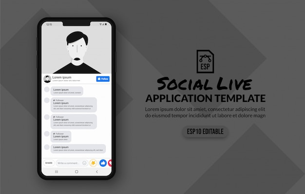 Social media live stream template, moblie application video player