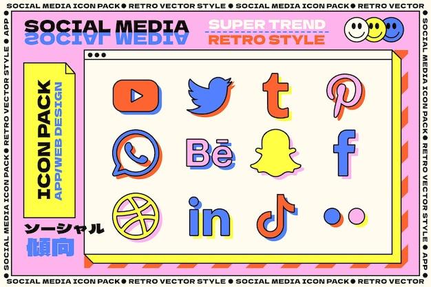 Collezione di loghi dei social media in stile retrò
