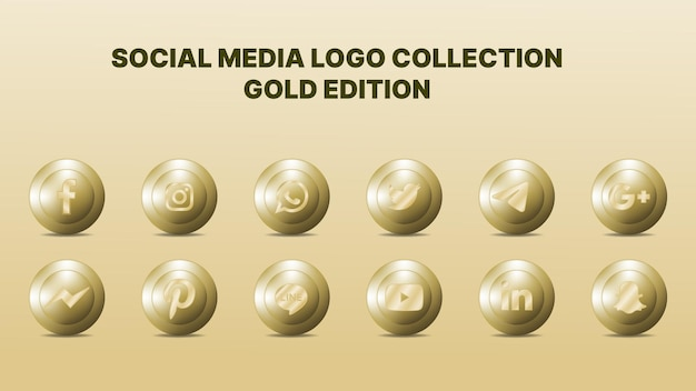 Social media logo collection. vector illustration. gold colour. Premium Vector