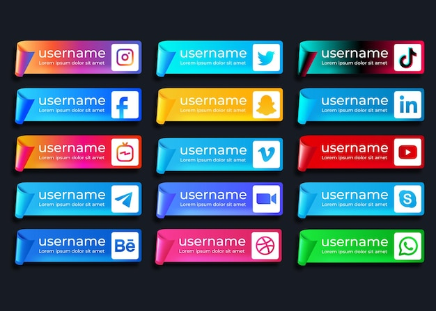 Webバナー用に設定されたソーシャルメディアのロゴコレクション