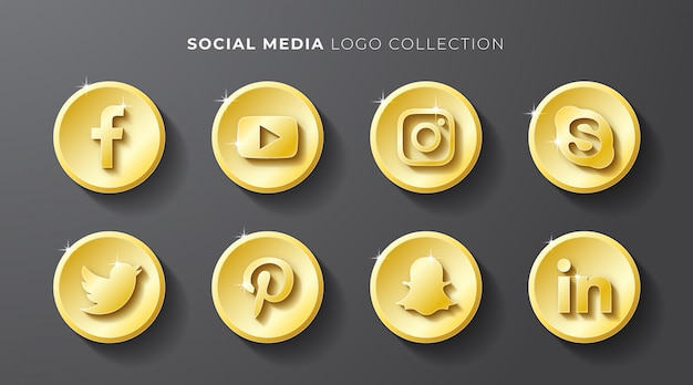 Social media logo gold  collection