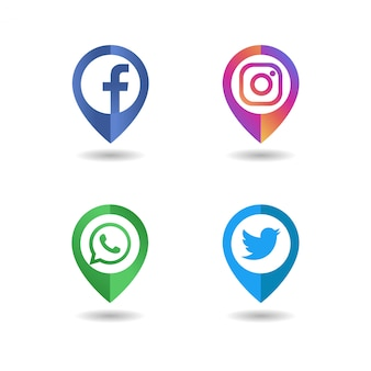 Social media logo icon pin concept