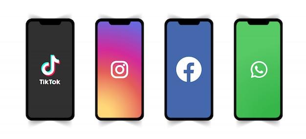 전화 화면에 소셜 미디어 로고.