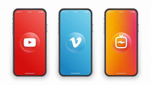 전화 화면의 소셜 미디어 로고