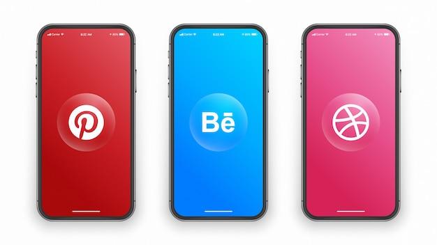 Social media logo on phone screen