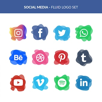 Social media logo set in fluid style