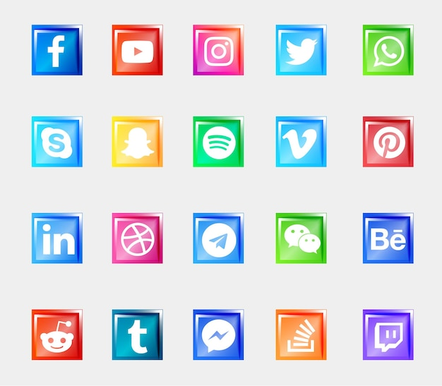 Social media logo shiny 3d buttons icons set collection