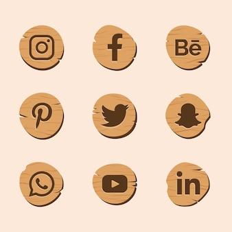 Логотип социальных сетей с дизайном текстуры дерева