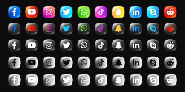 소셜 미디어 로고 및 아이콘 3d 컬렉션 팩
