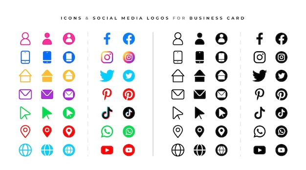 ソーシャルメディアのロゴとアイコンのセット