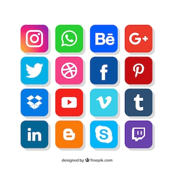 Social media logos collection in flat style