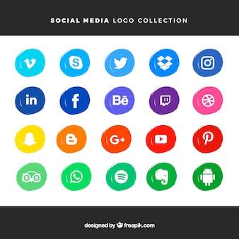 水彩スタイルのソーシャルメディアロゴコレクション