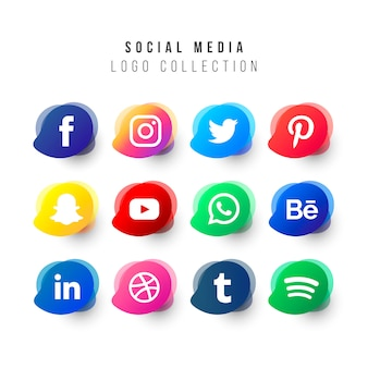 Social media logos collection with liquid shapes