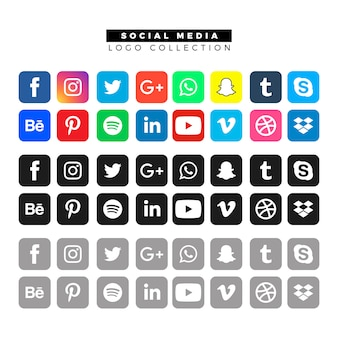 Social media logos in different colors