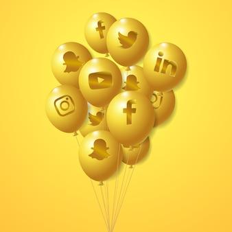 소셜 미디어 로고 황금 baloons 세트
