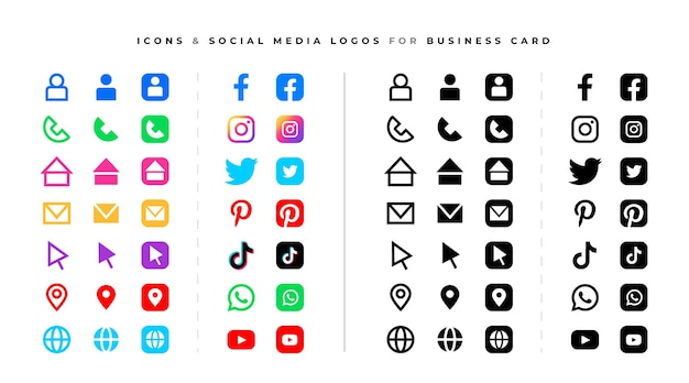 Social media logos and icons set