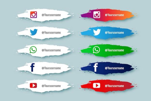 Terza raccolta inferiore dei social media con design a schizzi di vernice