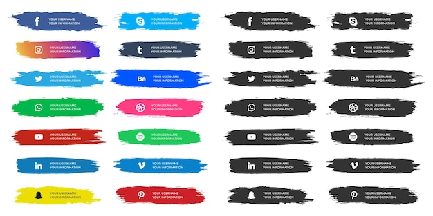 Social media lower thirds with watercolor brush strokes collection
