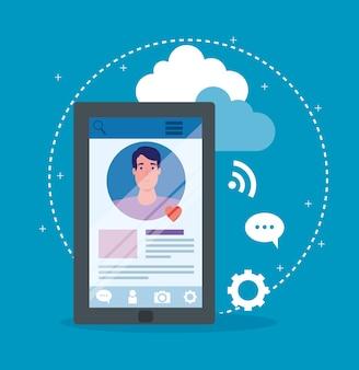 ソーシャルメディア、スマートフォンデバイスのイラストデザインで通信する男性