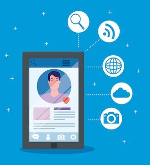 ソーシャルメディア、スマートフォンのイラストデザインでコミュニケーションする男性