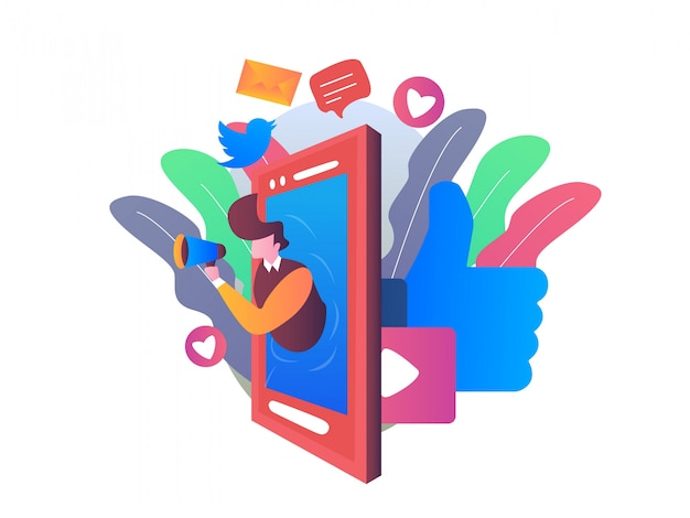 Social media management illustration