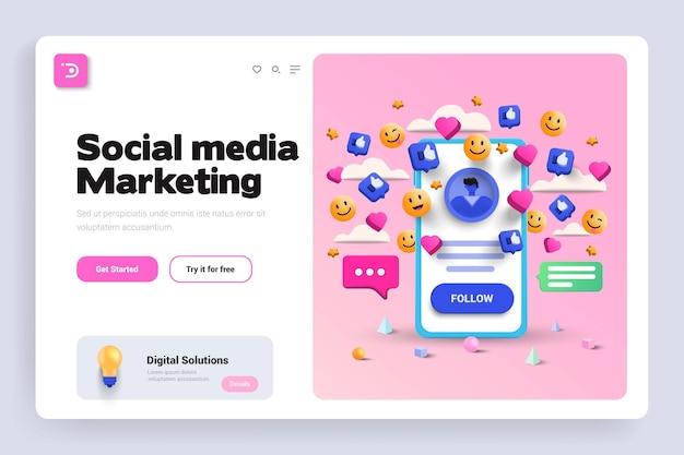 소셜 미디어 마케팅 3d 랜딩 페이지