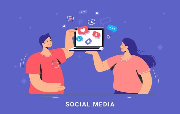 Маркетинг в социальных сетях и увеличение аудитории. плоская векторная иллюстрация концепции улыбающейся женщины и мужчины, стоящих с ноутбуком и просматривающих сети для общения и получения лайков и сердец